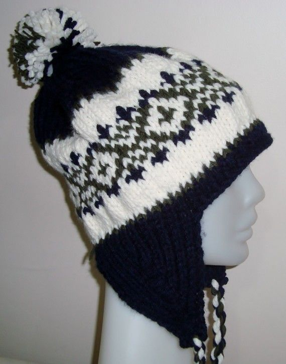 Hand Knitted Hat Mens Hat with Ear Flap in Dark by earflaphats, $37.00