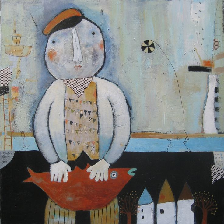 A Fish Story © mixed media on 30x30 canvas barbaraolsen.com