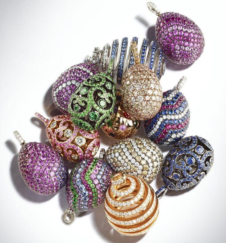 Collection of Fabergé Fine Jewellery egg pendants