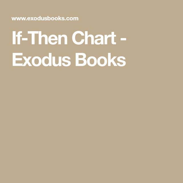 If-Then Chart - Exodus Books