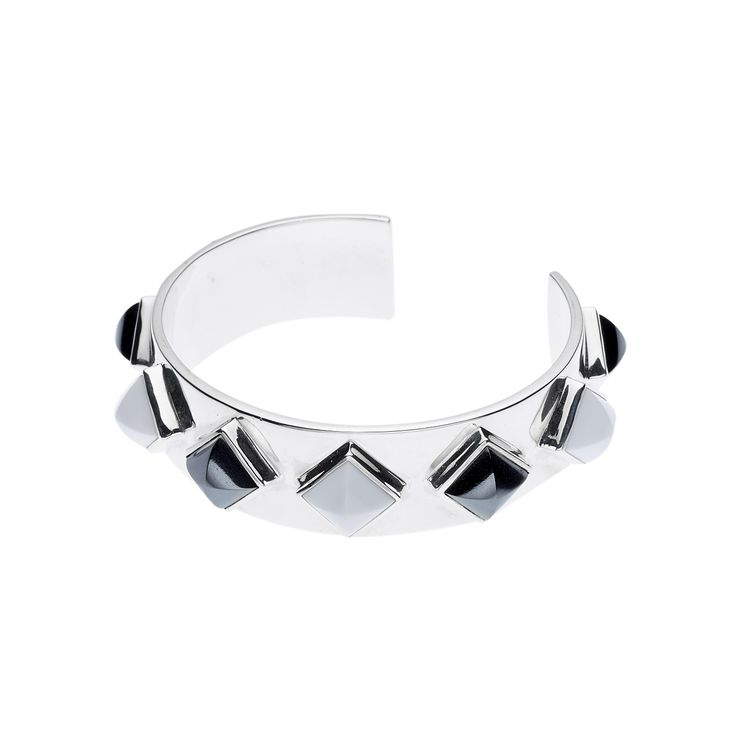 PUSHMATAAHA // MEROE CUFF in Hematite and White Agate with 925 Sterling Silver