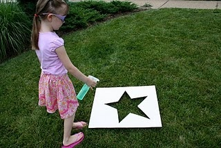 Lawn Stars: Wet grass through template and pour flour over it.