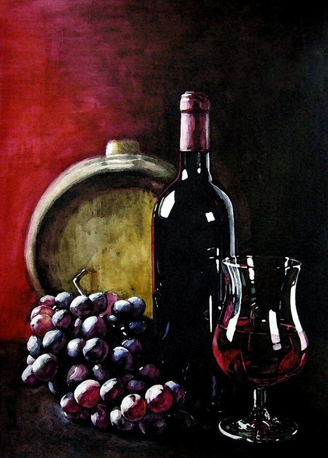 '와인과 포도2' (4절 켄트지 / 수채화)