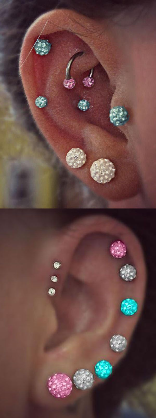 Unique Ear Piercing Ideas at MyBodiArt.com - Clear Crystal Ball Cartilage Stud Earrings - Pink Rook Horseshoe Barbell - Blue Tragus Jewelry