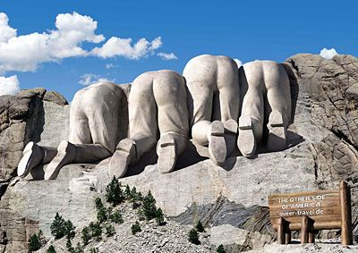 I think this is so funny! Mt. Rushmore from the Canadian side.