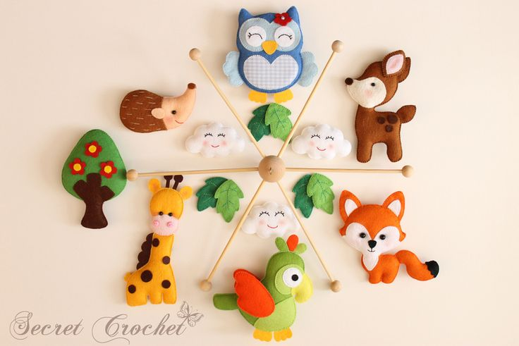 Baby Accessories Mobile Giraffe,Papagei,Fuchs,Bamby,Eule,Igel
