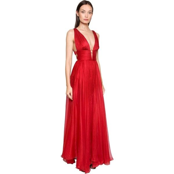 Maria Lucia Hohan Women Metallic Silk Mousseline Gown (£1,150) ❤ liked on Polyvore featuring dresses, gowns, red, red gown, red dress, deep v neck dress, metallic evening dress and silk dress