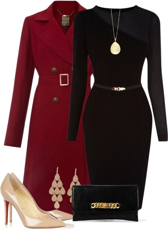 Classic Crimson and Beautiful Black ... switch up the shoes to black, and this would be perfect!