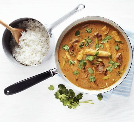 Thai pork and peanut curry. Use fragrant hot red curry paste as the base to this coconut curry dish with baby sweetcorn, coriander and soy