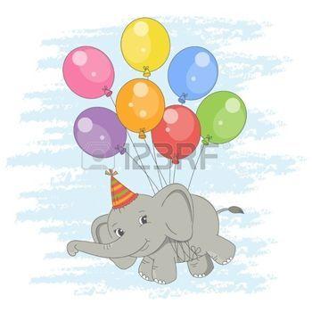 Scheda di buon compleanno. Illustrazione colorato con cute elefante volare su un palloncini. photo