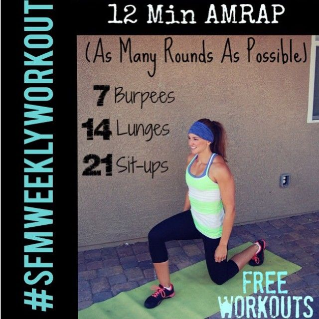"""""""Need to get a #workout in this week? We've got a whole slew of #freeworkouts programmed in the """"Workouts"""" tab at stayfitmom.com! This week's #SFMweeklyworkout challenge is a 12 min #AMRAP of #burpees, #lunges, and #situps! Good luck and be sure to check the LINK in my profile for details, modifications & video demonstration!"""" Photo taken by @stayfitmomblog on Instagram, pinned via the InstaPin iOS App! http://www.instapinapp.com (06/17/2015)"""