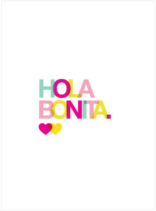 Hice este fondo de Pantalla para iPhone 4 y 5 HOLA BONITA. Wallpaper for iPhone 5. Descarga estos fondos de pantalla para que sonrías cada que checas la hora. | La Craftería MX
