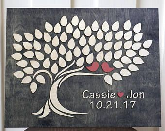 Wedding Guest Book | Rustic Guest Book | Alternative Wedding Guest Book | 3d Wood Tree  signing Guestbook |