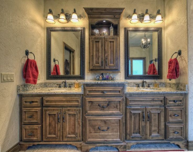 """Rustic Cottage...love the cabinet layout and design featuring """"His & Her"""" sinks..great idea for remodeling our master bathroom!"""