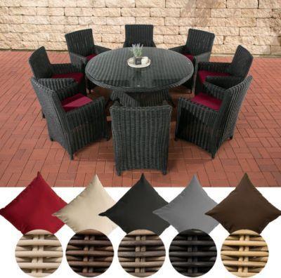 Poly Rattan Sitzgruppe LARINO XL (8 Sessel + Tisch Rund Ø 150 Cm)
