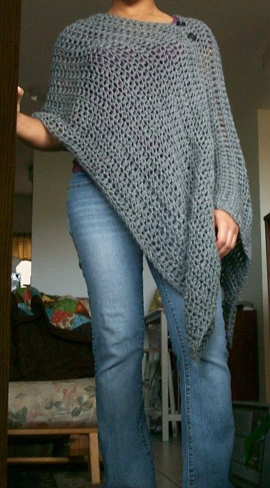 LOVE this loose crochet poncho to wear with jeans and boots. A gift that every lady on my Christmas list would enjoy. - Craft ~ Your ~ Home