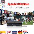 Openbox V8 caixa Dourada + 1 Ano CCcam DVB-S2 + DVB-C T2 Full Support PowerVu DRE chave Biss & WEB TV IPTV Youporn receptor combo