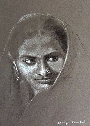 Portrait sketching on toned paper. Using charcoal pencil and white pastel pencil. ( Sold work )   By Manju Panchal www.charcoalspastelsandmore.blogspot.in