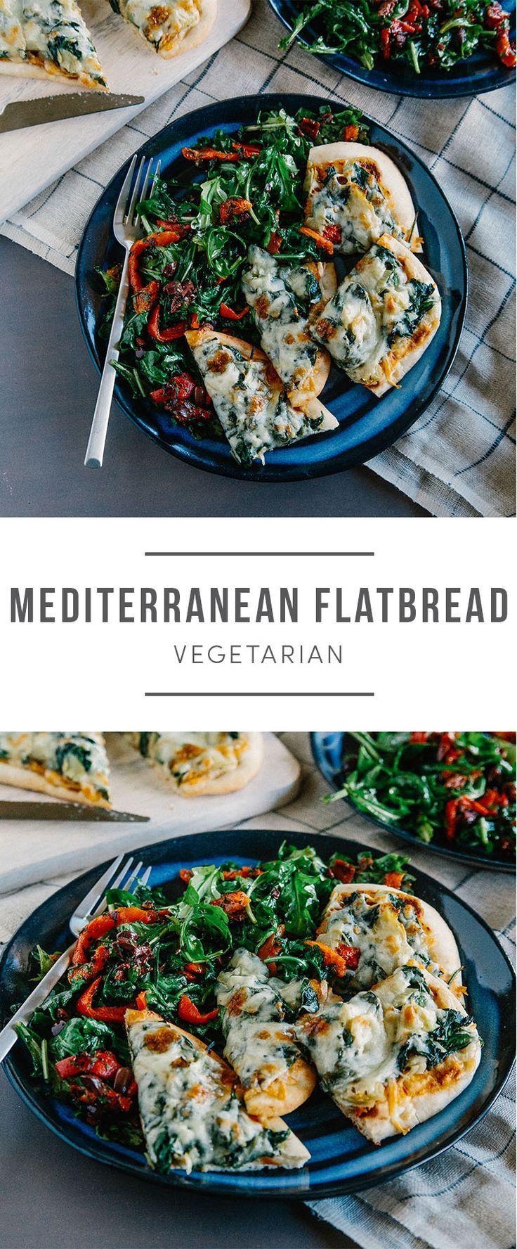 Mediterranean flatbread recipes. Artichokes, spinach, arugula and olives. Recipe here: https://greenchef.com/recipes/spinach-and-artichoke-flatbread-with-red-pepper-peperonata-and-arugula?utm_source=pinterest&utm_medium=link&utm_campaign=social&utm_conten