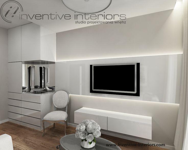 Projekt pokoju gościnnego Inventive Interiors - stylowy jasny pokój w bieli i beżach