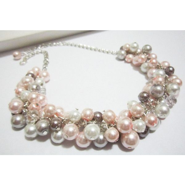 Pearl Bridesmaid Necklace, Pearl Bib Necklace, White, Gray and Blush... (£20) ❤ liked on Polyvore featuring jewelry, necklaces, etsyspecialt, bib necklaces, white bib necklace, pearl cluster necklace, white necklace and chunky pearl necklace