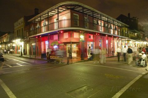 Night Life with Lights on Bourbon Street in French Quarter New Orleans, Louisiana Photographic Print at AllPosters.com