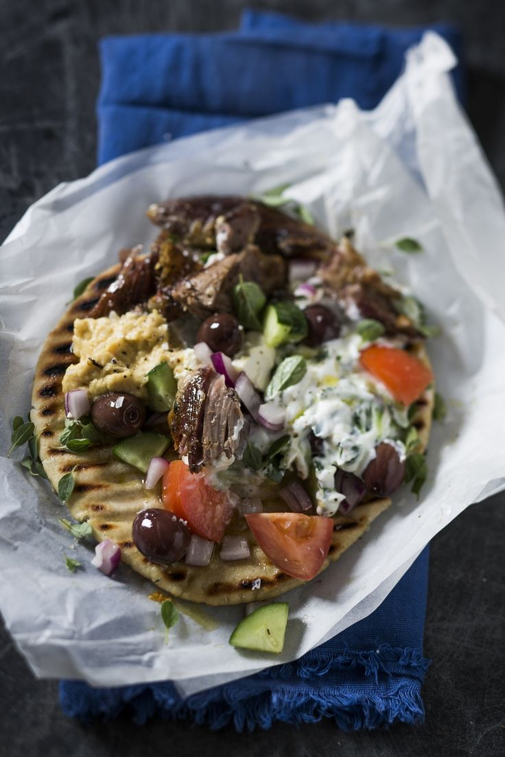 #FoodSolutions: Remove the #leftover meat from the #legoflamb and serve it on a grilled #pita with #olives, #tomato, #cucumber, #tzatziki.