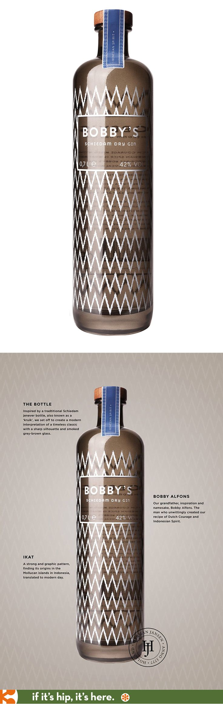 Absolutely love the bottle design for Bobby's Schiedam Dry Gin.