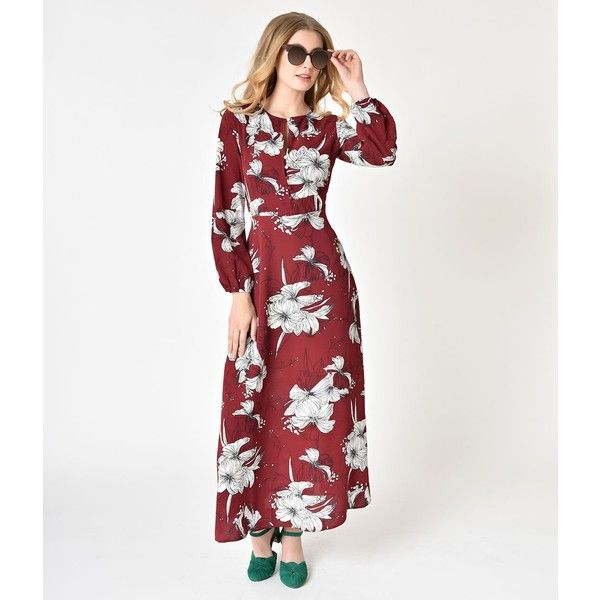 1970s Style Burgundy Ivory Floral Long Sleeve Crepe Maxi Dress 55 Liked On Polyvore Featur 1970s Fashion Vintage Dresses Online Long Sleeve Floral Dress