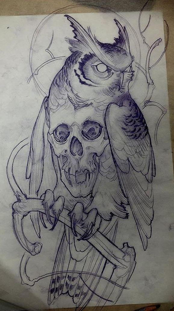 Imagem Relacionada Awesometattooideas Owl Tattoo Design Sketch