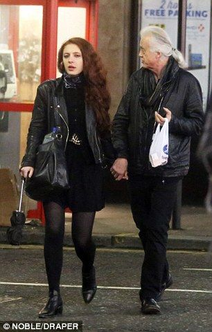 Jimmy Page with girlfriend Scarlett Sabet on his birthday ...