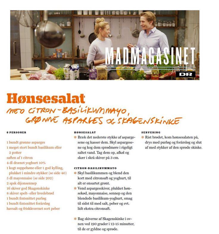 Aamanns hønsesalat - chicken salad for smørrebrød, recipe from Adam Aamann (in Danish)