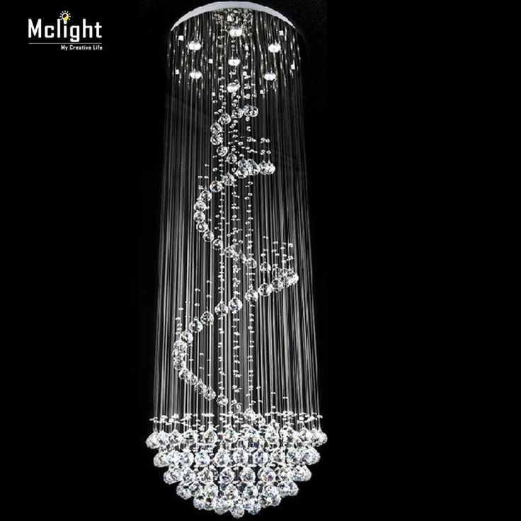 Бесплатная доставка современная роскошь спираль дизайн хрустальной люстры большой лестницы блеск светодиодные фонари Dia80 * H260cm Гарантия 100%