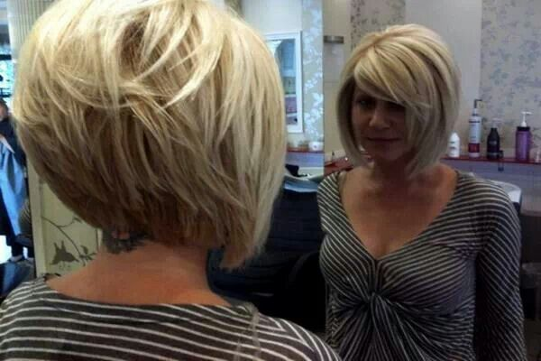 Graduated bob with short to long and contoured layers. | hair ...