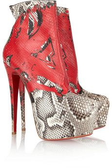 Christian Louboutin 20th Anniversary Daf 160 Painted-python boots