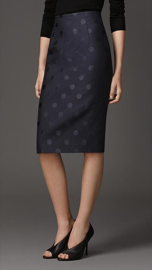 I really like my black pencil skirt with white polka dots....I love this black on black!!! CB