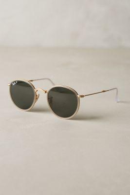 Ray-Ban Round Folding Classic Sunglasses Light Grey Eyewear #anthrofave