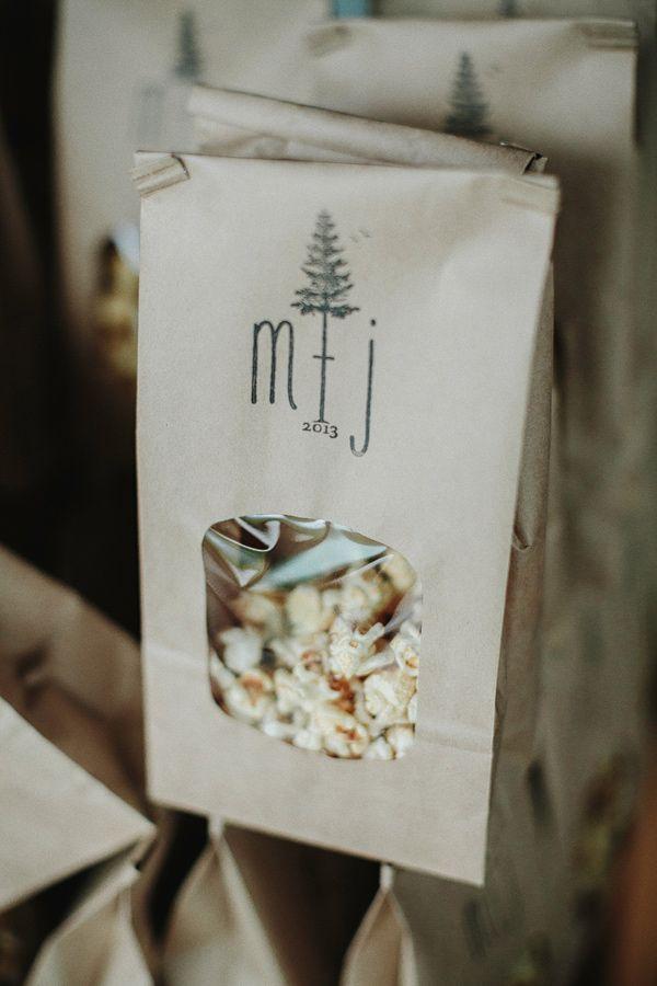 popcorn weddig favors // photo by Lev Kuperman http://ruffledblog.com/woodsy-hudson-valley-wedding/