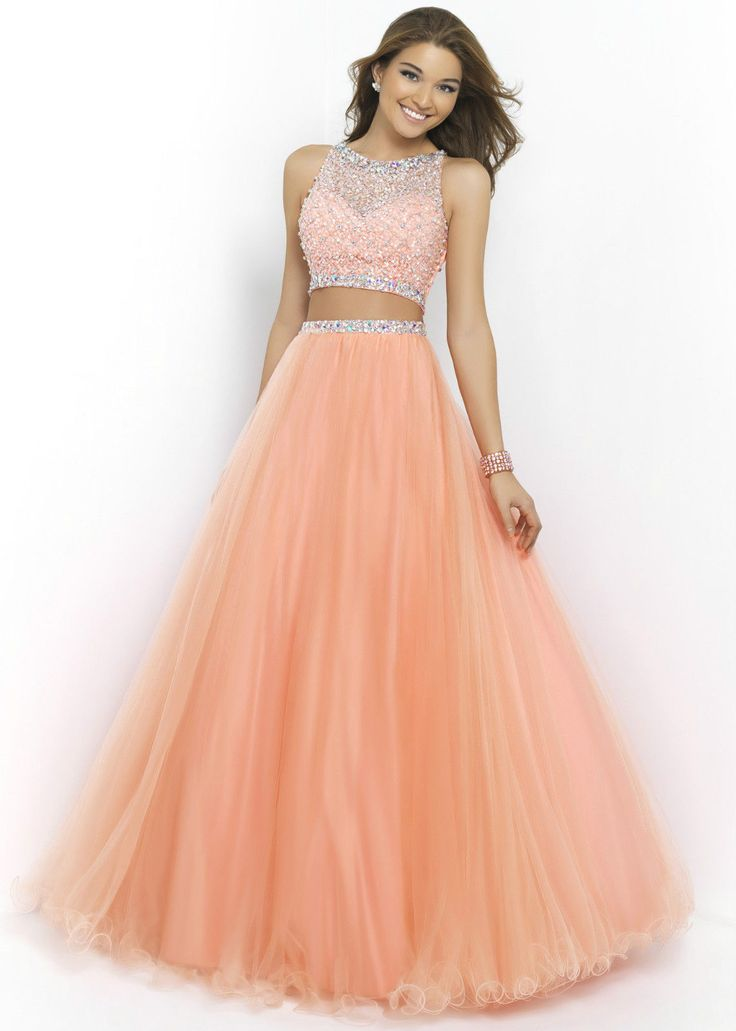 2015 Beads And Sequins Prom Dresses, O-Neck Prom Dresses, Real Made Prom Dresses,Two-Pieces Prom Dre on Luulla