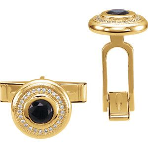 14K Yellow Men's Onyx & Diamond Cuff Links * heirloom quality * ~ personalized for you at Enchanted Jewelry 104 Main St Danielson, CT USA