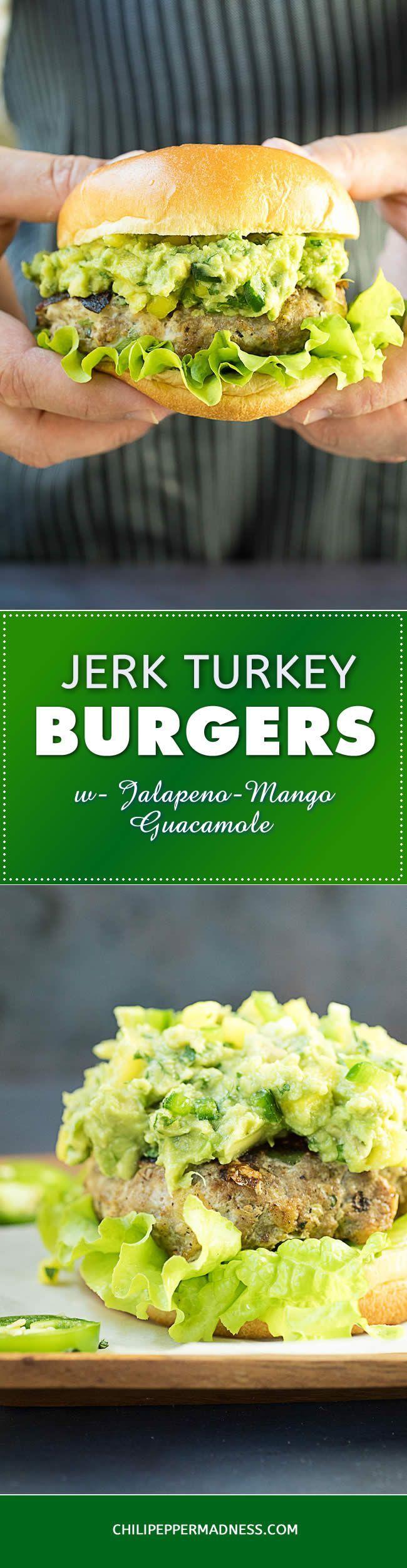 Jerk Turkey Burgers with Jalapeno-Mango Guacamole - A recipe for juicy turkey burgers handmade with savory jerk seasonings, perfectly seared, then topped with fiery jalapeno-mango guacamole. It's burger time!