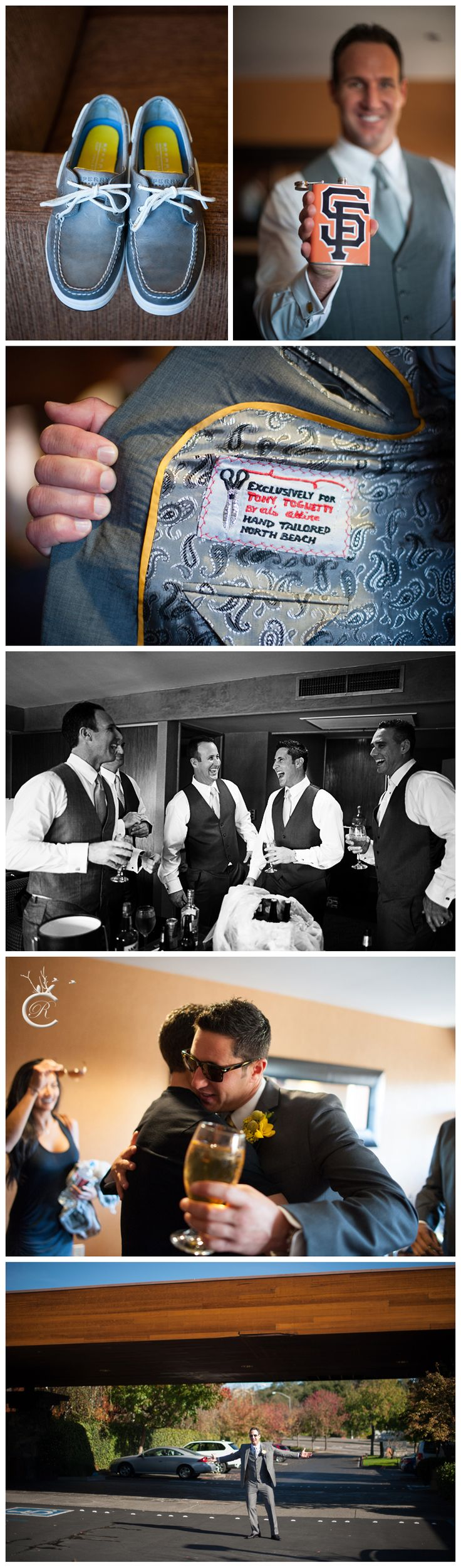 Fun SF Giants flask for the groom! Sperry Topsiders for groomsmen, hand tailored groom's suit,Beautiful wedding at St. Francis Winery in Santa Rosa