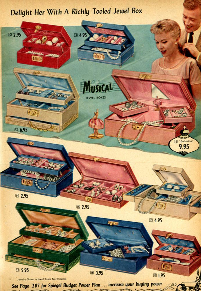 "1955 Spiegel Catalog ""Wish List"" Jewel Boxes. I LOVED looking through my mother's jewelry box as a child, and I still have my first jewelry box!"