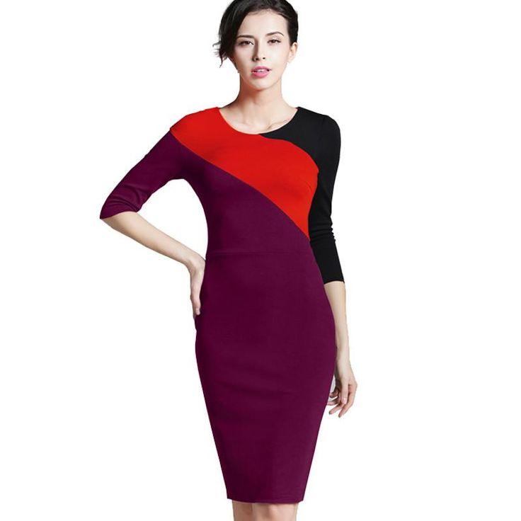 Nice-forever Spring Vintage Formal Patchwork O-neck Office Lady Wear for Work Bodycon Slim 3/4 Sleeve Sheath Women Dress 449