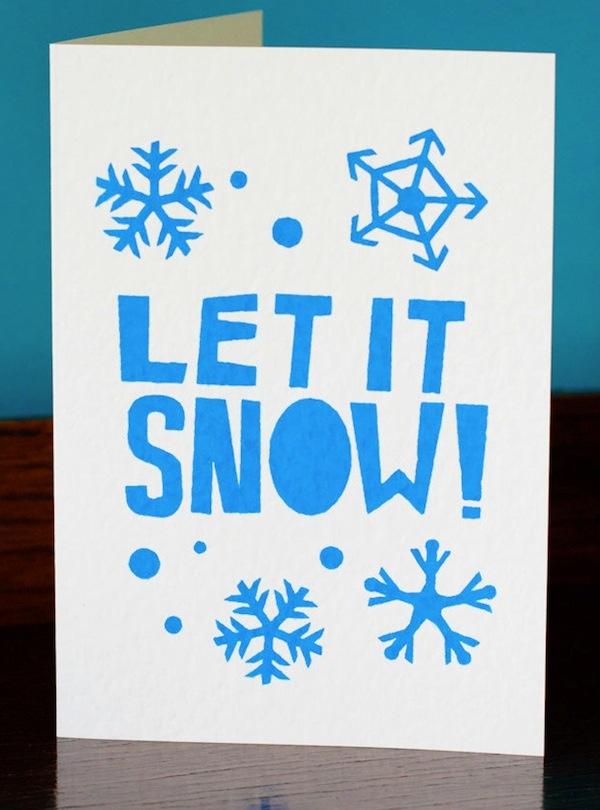 Simple text lino print Christmas card