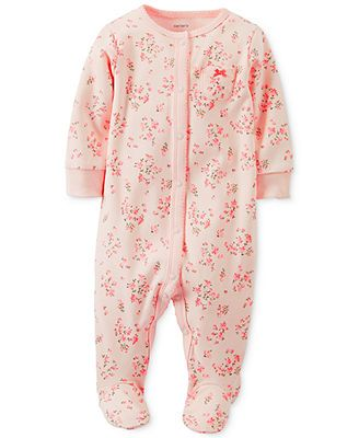 Carter's Baby Girls' Sleep 'N' Play Floral Footed Coverall