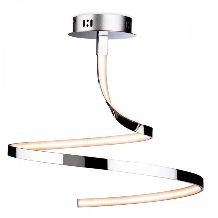 FirstLight Wave Spiral LED Semi-Flush Ceiling Light in Chrome