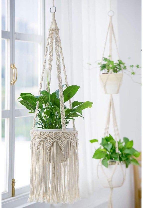 Macrame Plant Hangers With Tassel Handwoven Indoor Hanging