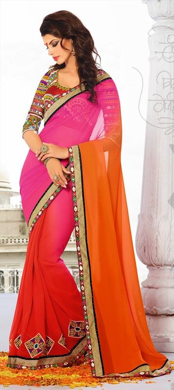 148968: Multicolour colour family Saree with matching unstitched blouse.