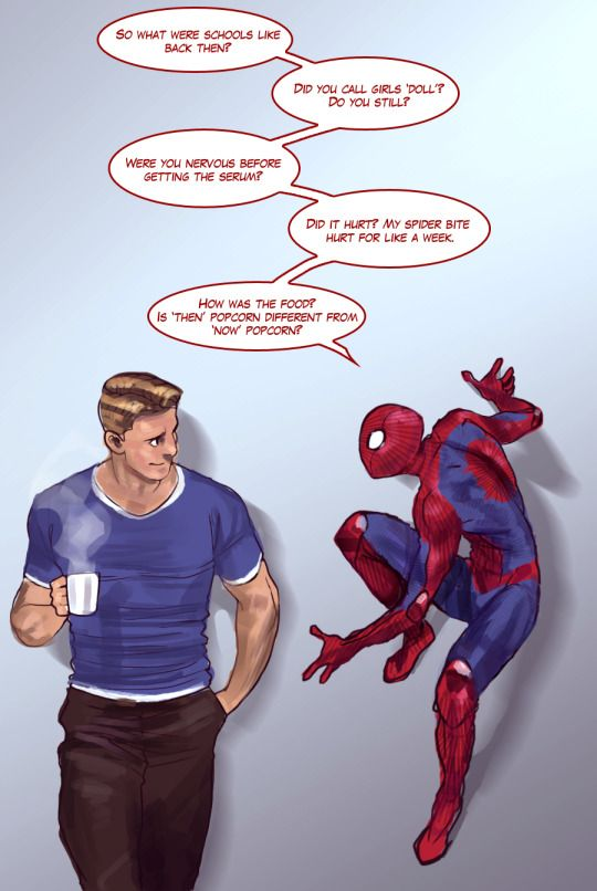 The others don't bring up Steve's past often because they're worried it's a sore subject. But teen Spidey doesn't have that filter, and is just excited to meet a guy from the 40s. Steve enjoys it - it's not often he gets reminded of the happy parts of his early life.